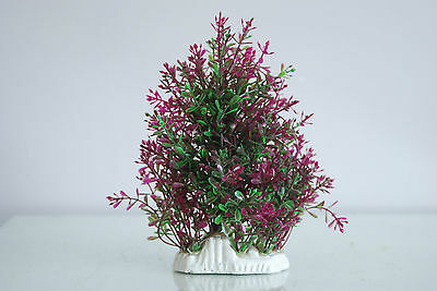 Aquarium Realistic Medium Plastic Plant Purple & Green Bush Plant  9x4x19 cms