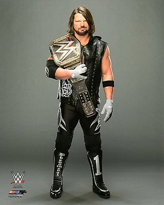 """WWE PHOTO AJ STYLES WITH TITLE BELT WRESTLING OFFICIAL 8x10"""" PROMO"""