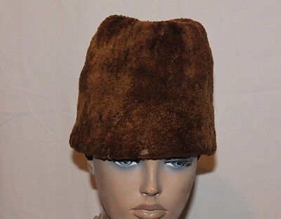 Antique authentic old Balkan mens sheepskin  leather warm fur hat - Kalpak