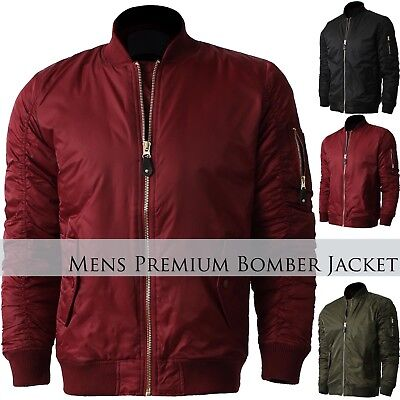 KS Mens BOMBER Jacket LIGHTWEIGHT MA-1 Military Crew FLIGHT Windbreaker Aviator