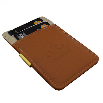 Mens Money Clip Wallet -Brown Cream Gold- Stainless Steel Cash Card Holder Gift