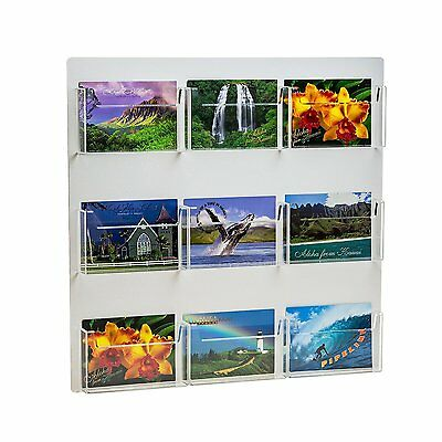 Source One 9 Pocket Deluxe Clear Postcard Holder Display Wall Mount