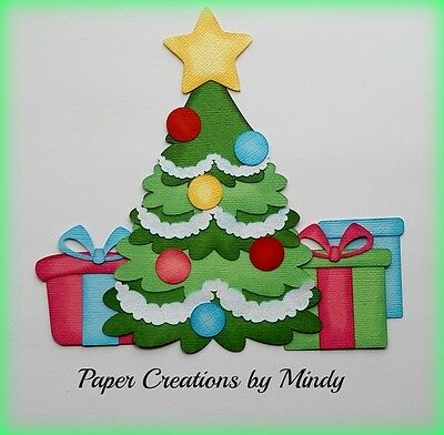Craftecafe Mindy Christmas Tree Presents premade paper piecing scrapbook page