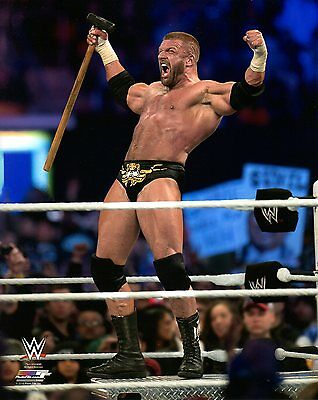 """TRIPLE H WWE PHOTO INRING WITH SLEDGE HAMMER WRESTLING 8x10"""" PROMO THE GAME HHH"""
