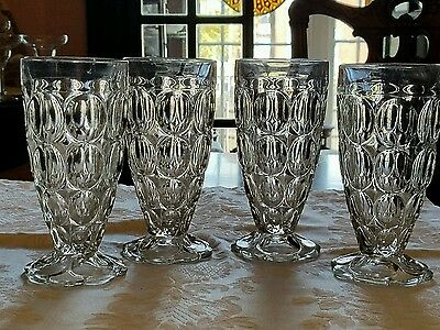 """4 Jeannette Thumbprint Footed Tumblers Scallop Base Clear Glass Set 6 1/8"""""""