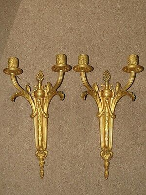VERY FINE PAIR OF FRENCH  Louis XVI STYLE GILT BRONZE TWO LIGHT WALL SCONCES