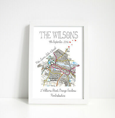 Personalised map print - moving gift /new home unique house warming present OS