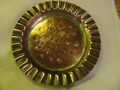 "Vintage Handmade Engraved Egyptian Copper Dish 5 5/8"" Diameter & .5""High Signed"