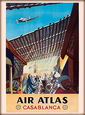 Air Atlas Casablanca Morocco Africa Vintage Travel Advertisement Art Poster