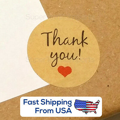 USA: Kraft Paper 'Thank You!' Stickers with Heart, round seal <3