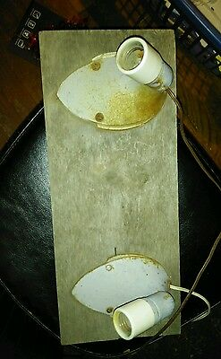 Vtg pair lights swivel metal ceramic.mounted steampunk art deco electric