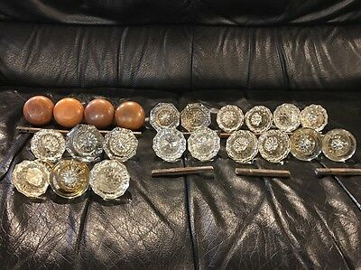 22 Vintage/antique Heavy Brass Glass Crystal And Wood Door Knobs
