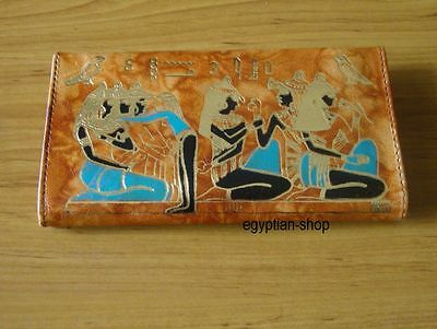 Egyptian Leather Purse - Gold Embossed - Ancient Egyptian Scene - Tan - NEW