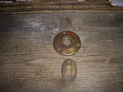 1 Old Rustic Cast Brass Rosette Door Knob Backplate & 1 Keyhole Cover Backplate