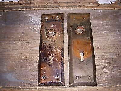 Distressed Tiger Stripe Jappanned Copper Flash Door Knob Back Plates Arts/crafts