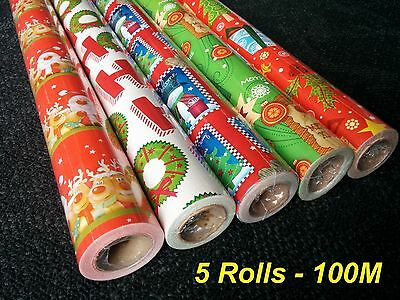 5 Rolls - 20 Metres x 70cm Christmas Gift Wrapping Paper - 100M Total
