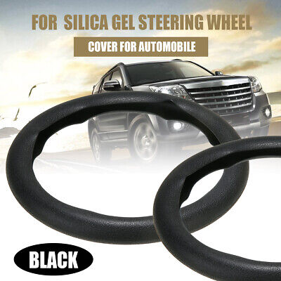 Car New Brand Leather Texture Soft Silicone Steering Wheel Cover 36-40cm Black