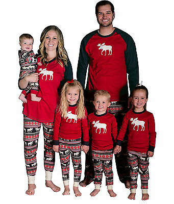 Christmas Family Matching Pajama Set Father Mother Kid Xmas Deer Print Sleepwear