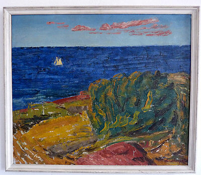 Expressionist, Coastal landscape with Sailor, 1. Half 20th Century