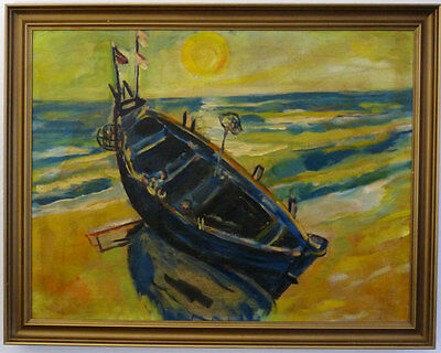 Fishing boat at the beach, Expressionist, 1. Half 20th Century