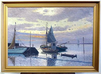 Erik Ytting, Fishing boats in the Evening light, Middle 20.Jh
