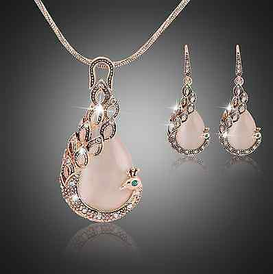 Womens Gold Plated Opal Crystal Peacock Necklace Earring Set BJ0010B 553
