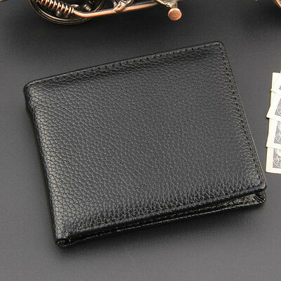Black Men Slim Leather Coin Zipper Pocket Wallet Bifold Credit Card Holder Purse