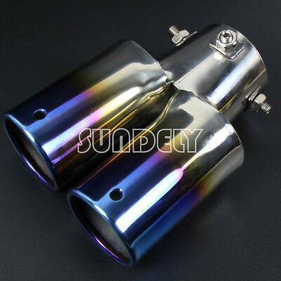 TWIN DUAL EXHAUST TRIM DOUBLE TIPS MUFFLER PIPE CHROME TAIL STRAIGH 63 x 155MM