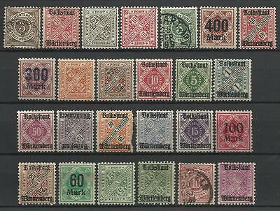 GERMANY WURTEMBERG STAMP COLLECTION PACKET of 25 DIFFERENT Stamps Mainly MINT