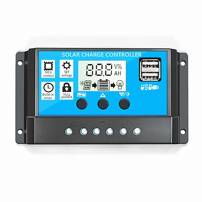 20A PWM Solar Panel Controller Battery Charge Regulator 12V/24V Auto With USB