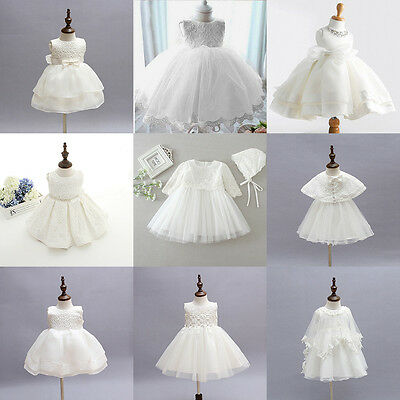 0-2Y Ivory White Toddler Baby Girls Party Wedding Baptism Christening Gown Dress