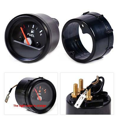 "2""/52mm 12V Motorcycle Fuel Level Gauge Meter E-1/2-F Pointer Black Face Rim"