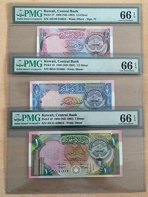 Kuwait Banknotes, Mini Set (1/4, 1/2 ,1 Dinar) 4th Issue 1992,UNC, PMG Grade 66