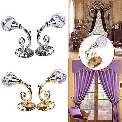2X Metal Crystal Glass Curtain Holdback Wall Tie Back Hooks Hanger Holder Groovy