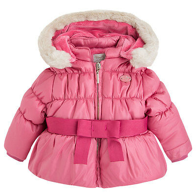 Baby Girls 0M-12M Bow Front Padded Microfiber Hooded Jacket, Mayoral