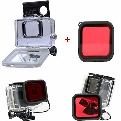 45M Waterproof Housing Case + Underwater Diving Red Filter Lens For Gopro Hero 5