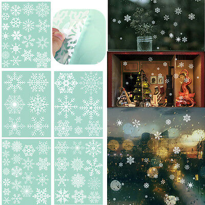 66x Reusable Snowflake Window Clings Stickers Wall Glasses Decals Christmas Xmas