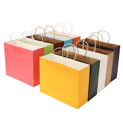Colorful Paper Party Bags Kraft With Handle For Present Gift Birthday Wedding