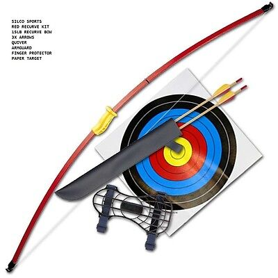 """Recurve Junior Youth Bow Set/ Longbow Kit - 44"""" - Red With Three Arrows"""