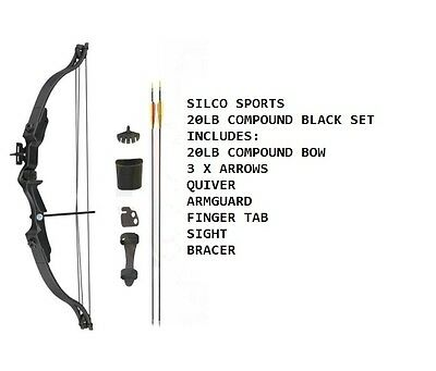 Archery 20Lbs Youth Black Compound Bow & Arrows Set with Acessories & 3 Arrows