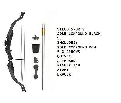 Archery 20Lbs Youth Black Compound Bow & Arrows Set with Acessories & 5 Arrows