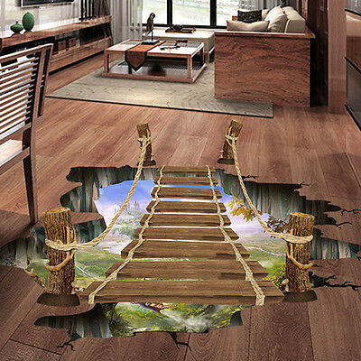 3D Floor/Wall Sticker Removable Bridge Mural Decals Vinyl Art Living Room Decor