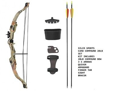 Camo Archery Compound Bow Set 20 -JUNIOR with Accessories & 3 Arrows - R/H