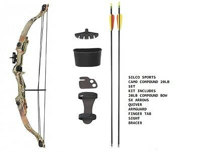 Camo Archery Compound Bow Set 20 -JUNIOR with Accessories & 5 Arrows - R/H