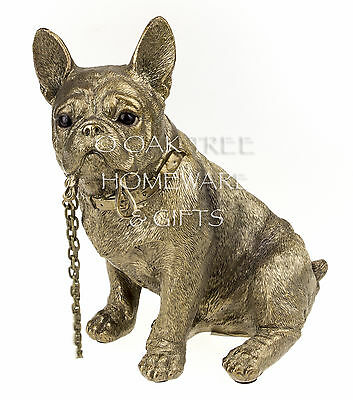 French Bulldog Statue Bronze Dog Ornament Dog Memorial Figurine New and Boxed