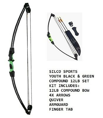 Youth/Child Black & Green Compound Archery Bow 12Lbs Kit Set 3 X Arrows & Access