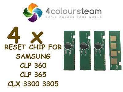 4x TONER RESET CHIPS (1set) FOR SAMSUNG CLP 360 CLP365W CLX3300 CLX3305W CLP360