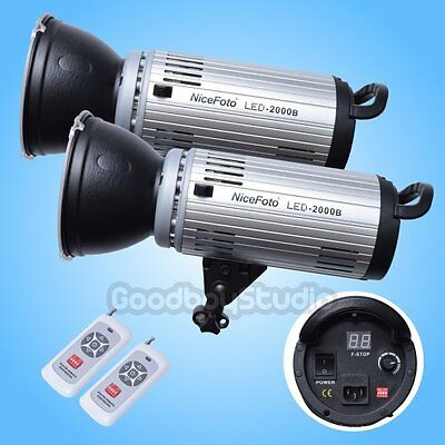 2PCS  LED-2000B 200W 5500K LED Continuous Video Light Bowens Mount w/ Remote