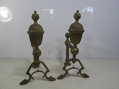 Vintage Pair of Small Brass Fireplace Andirons