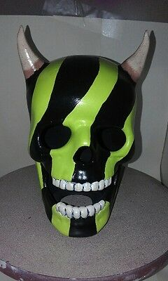 Ceramic Horned Skull Warpaint Design - Hand Made And Painted In Australia
